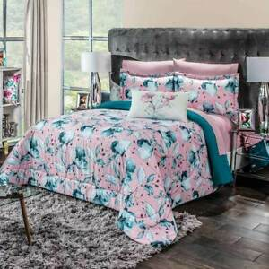 Anel Floral Pink and Green Reversible Verano Comforter with New HD Quality