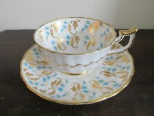Royal Chelsea England Bone China Tea Cup And Saucer Blue Flowers Gold