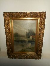 Antique oil painting,{ River scene with a castle, is signed, nice frame }.