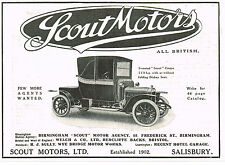1912 Old Vintage Scout Motors 11.9hp Coupe Motor Car Automobile Photo Print AD