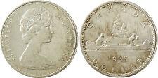 CANADA  ,  ELIZABETH  II  ,  DOLLAR  ARGENT  1965  ,  PIROGUE  INDIENS , SUPERBE