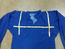 New Native American Men's Large Blue Yellow Ribbon Shirt Seminole HandMad Lovins