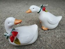 Set of 2 White Ceramic Duck Figurines With Flowers Duck 'N Roses Home Decor