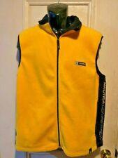Mens Vintage Nautica Competition Yellow Zip Up Fleece Vest - Size Large