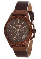 DKNY CHRONOGRAPH BROWN DIAL ST.STEEL CASE LEATHER STRAP LADIES WATCH NY8654 NEW
