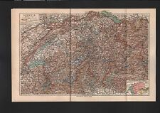 Landkarte map 1909: SCHWEIZ. Maßstab: 1 : 1.100 000