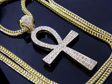 Crystals Iced Out Ankh Symbol Of Life Pendant Franco Chain Hip Hop Gold Cross