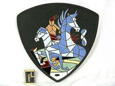 "Rare 50 ´s design Keto Keramik pottery wall plaque Wandbild "" Rodeo"" 29 cm"