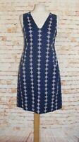 size 14 Joules summer dress sleeveless a-line summer navy paisley print cotton
