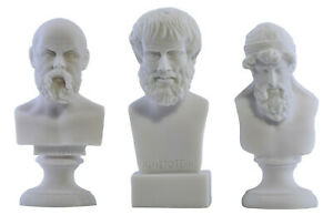 SOCRATES ARISTOTLE PLATO Greek Philosopher Bust Head Statue Sculpture