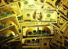 Lot of 10 - 24 K GOLD Plated $100 Dollar Bill with Green Seal TWO SIDED Printed