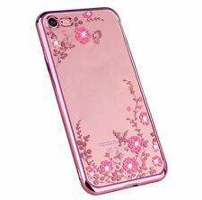 For iPhone 7 - Hard TPU Rubber Gummy Diamond Bling Case Rose Gold Pink Flowers