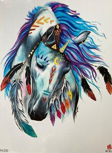 Temporary Tattoo Animal Horse Body Art Fake Waterproof 21cm x 15cm