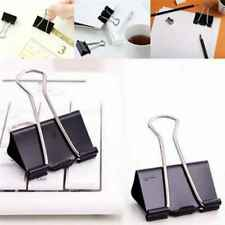 12Pcs Black Metal Binder Clips File Paper Clip Photo Stationary Office Supplies