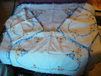 VTG Set 4 Handmade Rectangular Fabric Doily Dresser Yellow Flowers Blue Edging