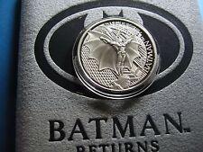 BATMAN RETURNS MICHAEL KEATON 1992 DC COMICS 999 SILVER COIN BOX COA RARE #1500