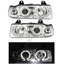 2 FEUX PHARE AVANT ANGEL EYES LED MONOBLOC FOND CHROME BMW SERIE 3 E36 BERLINE