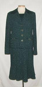 St John 4pc Green/White Flecked Jacket Skirt w/Santana Top Pants Suit 14/12/L/16