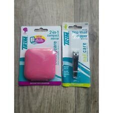 Trim Lot of 2 Personal Care Items Nail Clipper & 2-in-1 Compact Mirror