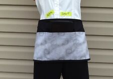 Black Petite Short Glitter 3 Pocket Waitress Waist Apron Restaurant Server