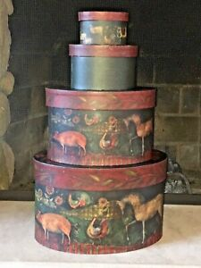 Bob's Boxes R.A. Lang Primitives four Nesting Stacking oval boxes farm animals