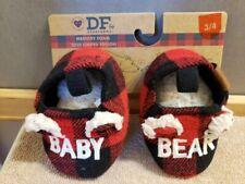 New Dearfoams Memory Foam Toddler Size 3/4 Baby Bear Slippers Red Black Plaid