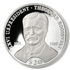 Liberia Theodore Roosevelt $20 2000 Proof Silver Coin Km-892