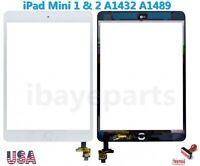 FOR iPad Mini 1 & 2 A1432 A1489 Touch Screen Digitizer IC Home Button Flex White