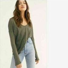 NEW We The Free People Women Sienna Snap Sleeve Henley Top Olive S M