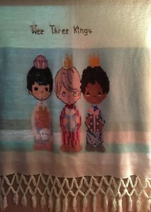 """Precious Moments Wee Three Kings Crochet Afghan Wall Hanging 50""""X70"""" Multi Color"""