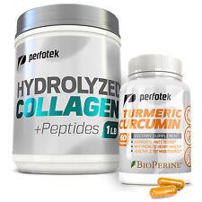 ▶ Collagen Peptides Hydrolyzed Protein Powder 1LB + Premium Turmeric Curcumin