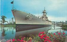 USS North Carolina battleship postcard 1966 in dock at Wilmington