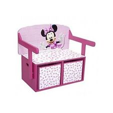 Minnie Mouse Storage Convertible Toy Box Desk Girls Kids Bedroom Furniture Pink