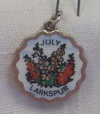 Vintage REU Silver Plated/Enamel July/Larkspur Birth Month Flower Charm