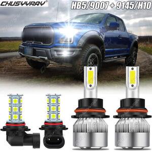 For Ford F150 1999-2002 2003 Combo 9007 LED Headlight + 9145 Fog Light Bulbs Kit