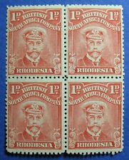 1913 RHODESIA 1d SCOTT# 120d S.G.# 190 UNUSED BLOCK OF FOUR 2NH         CS09800A