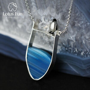 Unique Design Solid 925 Silver Jewelry Penguin Natural Agate Necklace for Women
