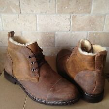 UGG GALEN CHESTNUT BOMBER LEATHER SHEEPSKIN SHOES ANKLE LACE BOOTS US 10.5 MENS