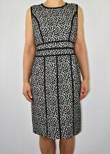 New £199 Fenn Wright Manson Kay Dress Animal Print Black Wool Autumn Size 14 AL1