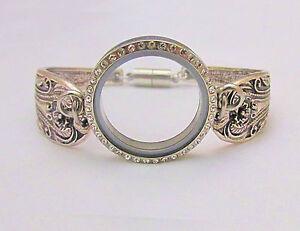 Stainless Steel Crystal Floating Locket Floral Bangle Bracelet for Living Charms
