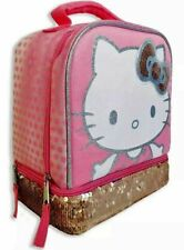 New Hello Kitty Sanrio Girls' Dual-Chamber Reversible Sequin Lunch Tote Box Kit
