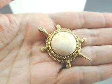Gorgeous 14k Gold Cellino Turtle Pin Sapphire Eyes Angel Skin Coral Body