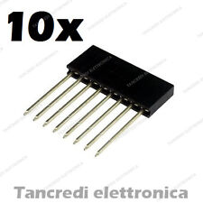 10x Connettori Strip Line Femmina 8 poli 10x1 - Header Socket Female arduino