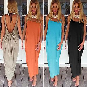 Women Summer Maxi Backless Long Shift Dress Casual Hippie Holiday Beach Sundress