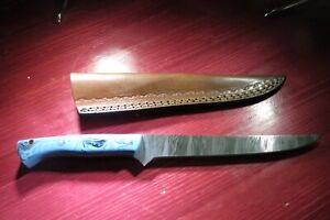 Custom Made Damascus Steel Fillet Fishing Knife Blue Ceramic and leather sheath