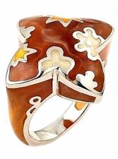 ALAN K DESIGNO COLLECTION RING MULTICOLOR ENAMEL, BROWN RESIN AND 925 ST/SILVER