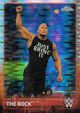 THE ROCK 2015 TOPPS CHROME WWE PULSARS REFRACTOR HOLO PARALLEL #'D /75 GREAT ONE