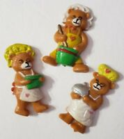 GIFTCO LOT OF 3 VINTAGE BEAR MAGNETS GOOGLY EYES BAKING BAKERS PLASTIC CUTE