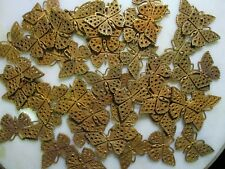 50 Vintage Die Struck Patina Raw Brass Butterfly or Moth Filigree Stampings