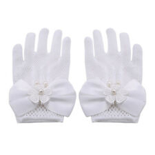 Children Lace White Pearl Bow Mesh Short Gloves Wedding Flower Party Princess KL